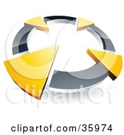 Clipart Illustration Of A Pre Made Logo Of A Chrome Circle With Four Green Arrows Pointing Inwards by beboy