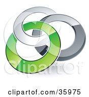 Clipart Illustration Of A Pre Made Logo Of Silver Gray And Green Rings Entwined