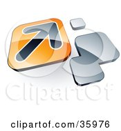 Clipart Illustration Of A Pre Made Logo Of An Arrow On An Orange Box Near Orange Squares