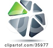 Clipart Illustration Of A Pre Made Logo Of A Circle Of Green And Silver Triangles by beboy
