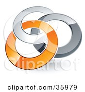 Clipart Illustration Of A Pre Made Logo Of Silver Gray And Orange Rings Entwined by beboy