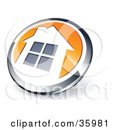 Clipart Illustration Of A Pre Made Logo Of A Shiny Round Chrome And Orange Home Button by beboy #COLLC35981-0058