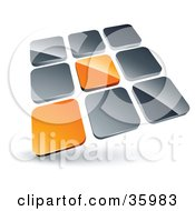 Clipart Illustration Of A Pre Made Logo Of Two Orange Tiles Standing Out From Rows Of Silver Tiles