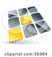 Clipart Illustration Of A Pre Made Logo Of Two Yellow Tiles Standing Out From Rows Of Silver Tiles