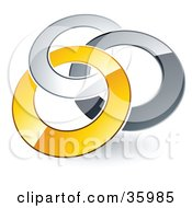 Clipart Illustration Of A Pre Made Logo Of Silver Gray And Yellow Rings Entwined