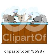 Clipart Illustration Of Three Relaxed Dogs Drinking Champagne And Soaking In A Steamy Hot Tub