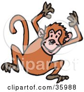 Clipart Illustration Of A Hyper Monkey Jumping Up And Down With His Hands Above His Head