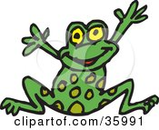 Happy Spotted Green Frog Leaping