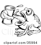 Clipart Illustration Of A Black And White Thirsty Frog Drinking From A Can