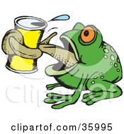 Clipart Illustration Of A Thirsty Green Frog Grasping A Canned Beverage With His Tongue