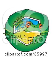 Clipart Illustration Of A Cute Tree Frog Peeking Through A Green Hole by Dennis Holmes Designs