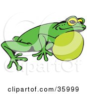 Clipart Illustration Of A Green Frog With Air In His Throat