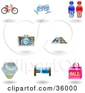 Clipart Illustration Of A Set Of Nine Shiny Travel And Lodging Icons