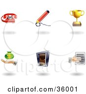 Clipart Illustration Of A Set Of Nine Shiny Business Icons by AtStockIllustration