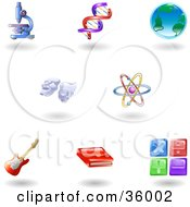 Clipart Illustration Of A Set Of Nine Shiny Science Education And Entertainment Icons