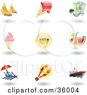 Clipart Illustration Of A Set Of Nine Shiny Summer Travel Icons