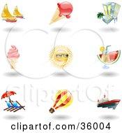 Set Of Nine Shiny Summer Travel Icons