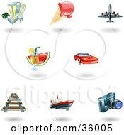 Set Of Nine Shiny Vacation Travel And Lodging Icons