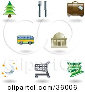 Clipart Illustration Of A Set Of Nine Shiny Lodging And Travel Icons
