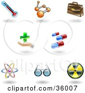 Clipart Illustration Of A Set Of Nine Shiny Medical Icons