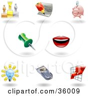 Clipart Illustration Of A Set Of Nine Shiny Office Icons