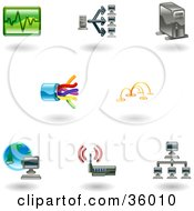 Clipart Illustration Of A Set Of Nine Shiny Computer Technology Icons