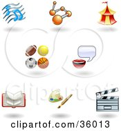 Clipart Illustration Of A Set Of Nine Shiny Entertainment Arts And Sports Icons by AtStockIllustration