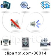Clipart Illustration Of A Set Of Nine Shiny Media Icons