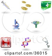 Set Of Nine Shiny Health Care Icons