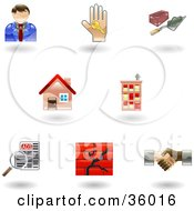 Clipart Illustration Of A Set Of Nine Shiny Real Estate Icons