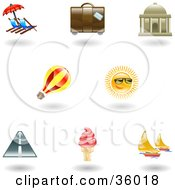 Set Of Nine Shiny Vacation Icons
