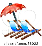 Clipart Illustration Of A Red Umbrella Over Two Beach Lounge Chairs