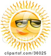 Clipart Illustration Of A Warm Sun Wearing Dark Shades Over His Eyes by AtStockIllustration