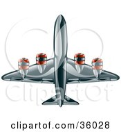 Clipart Illustration Of A Shiny Black Commercial Airliner Plane by AtStockIllustration