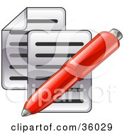 Clipart Illustration Of A Red Pen Over Two Pages Of Text