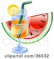 Clipart Illustration Of A Cocktail Glass In Front Of A Slice Of Watermelon