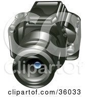 Clipart Illustration Of A Black Digital SLR Camera Facing Front
