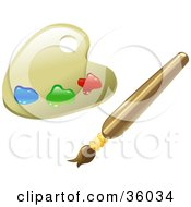 Clipart Illustration Of A Paint Palette With Blue Green And Red Paints And A Paintbrush by AtStockIllustration