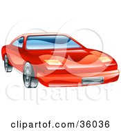 Clipart Illustration Of A Shiny Red Car With Flip Lights