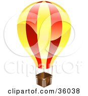 Clipart Illustration Of A Shiny Red And Yellow Hot Air Balloon