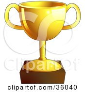 Clipart Illustration Of A Shiny Gold Trophy Cup On A Pedestal