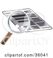 Clipart Illustration Of A Magnifying Glass Researching A Document