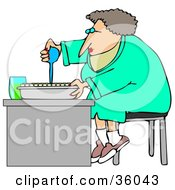 Clipart Illustration Of A Female Scientist Sitting On A Stool And Filling Sample Tubes For Scientific Research by Dennis Cox