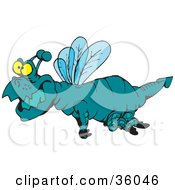 Clipart Illustration Of A Chubby Yellow Eyed Blue Dragonfly Flying Left