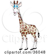 Clipart Illustration Of A Cute Giraffe With Blue Eyelids by Dennis Holmes Designs