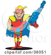 Clipart Illustration Of A Blond Male Super Hero In A Yellow Blue And Red Suit Holding Up A Gun