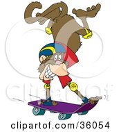 Clipart Illustration Of A Grinning Monkey Doing A Handstand While Skateboarding