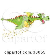 Clipart Illustration Of A Green Dragon With Purple Spots Stealing A Pot Of Gold Coins Some Falling As He Flies Away
