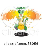Clipart Illustration Of An Excited Green Yellow And Purple Spotted Dragon Blowing Flames And Running With A Pot Of Gold