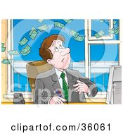 Clipart Illustration Of Money Floating Above A Businessman At His Desk